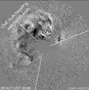 LASCO imagery shows the CME is directed mostly North and East