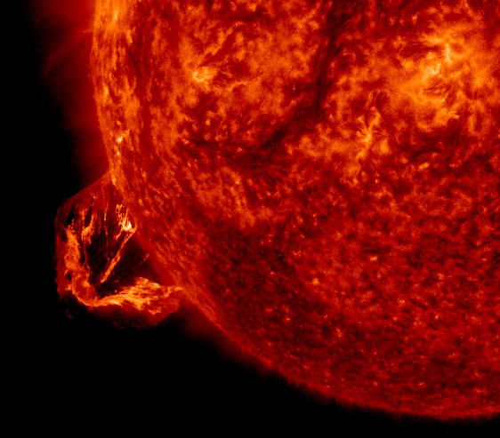 Solar Prominence associated with CME Feb 24 2015 10:08 in AIA 304 (red)