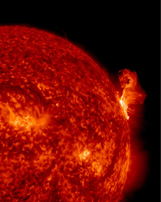 Solar flare in 304 wavelength