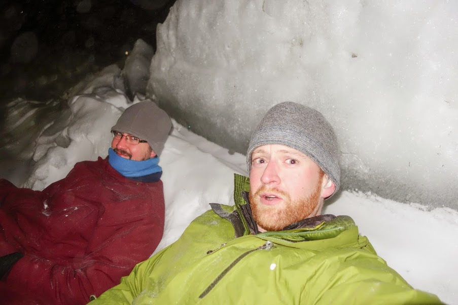 Charles and Dan Shelter from the wind while time lapse camera snaps photos