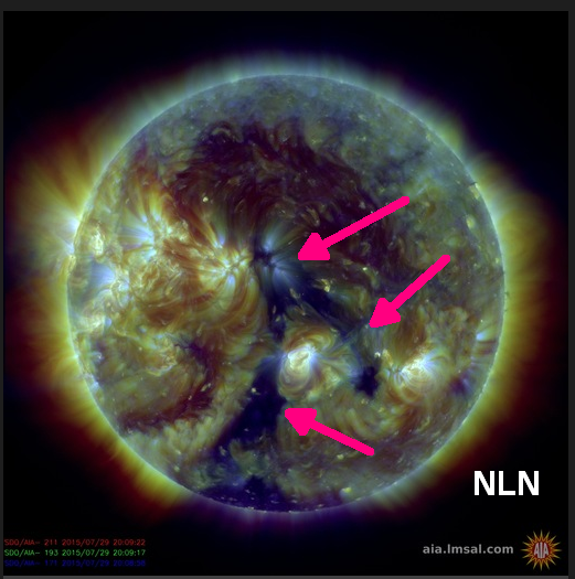 Coronal holes visible on SDO imagery