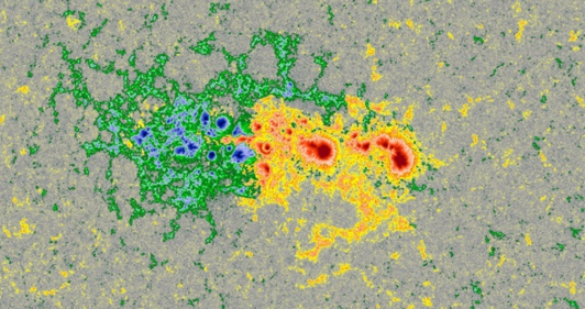 AR 2443 in SDO colorized magnetogram has gained a delta spot and has flaring potential