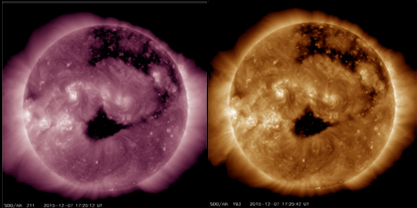 Coronal Hole Images on Dec 7 2015 by SDO in AIA211 and AIA193 wavelengths