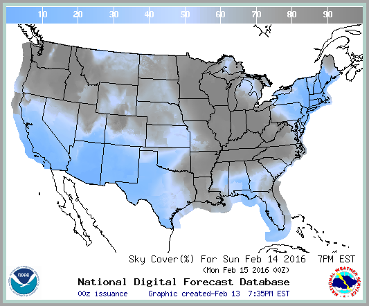 Clear skies are marked in blue in this cloud cover forecast for the US