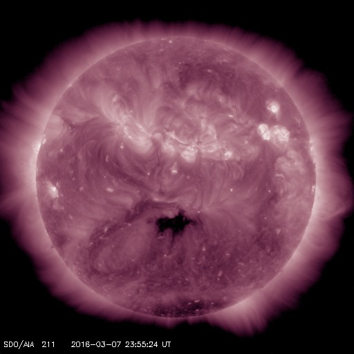 Coronal hole in the southern hemisphere, center disk will make for high speed solar wind on 3/11