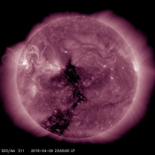 Large Earth directed Coronal hole may bring Aurora on April 13 and 14.