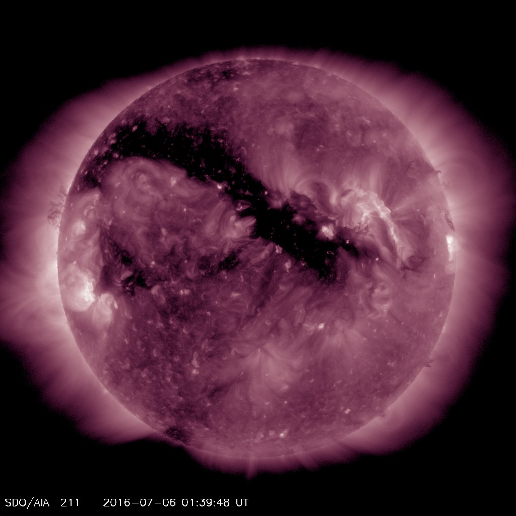Large coronal hole (#93) pointed towards Earth on  July 6.