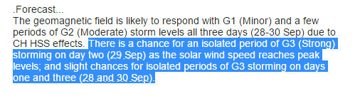 SWPC discussion indicates the possibility of G3 storming on Days 2 and 3