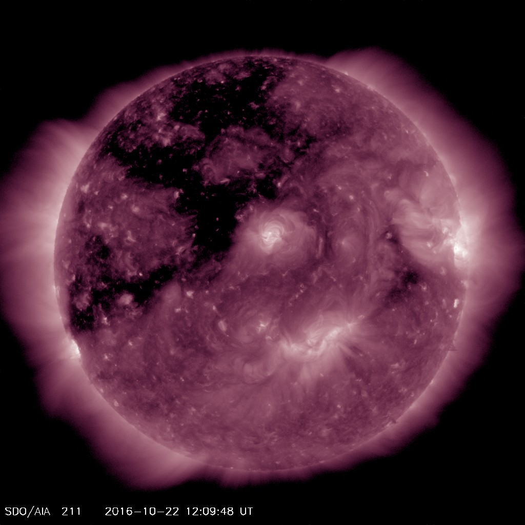 The large coronal hole that produced Aurora on the previous rotation is visible in the North East quadrant of the solar disk
