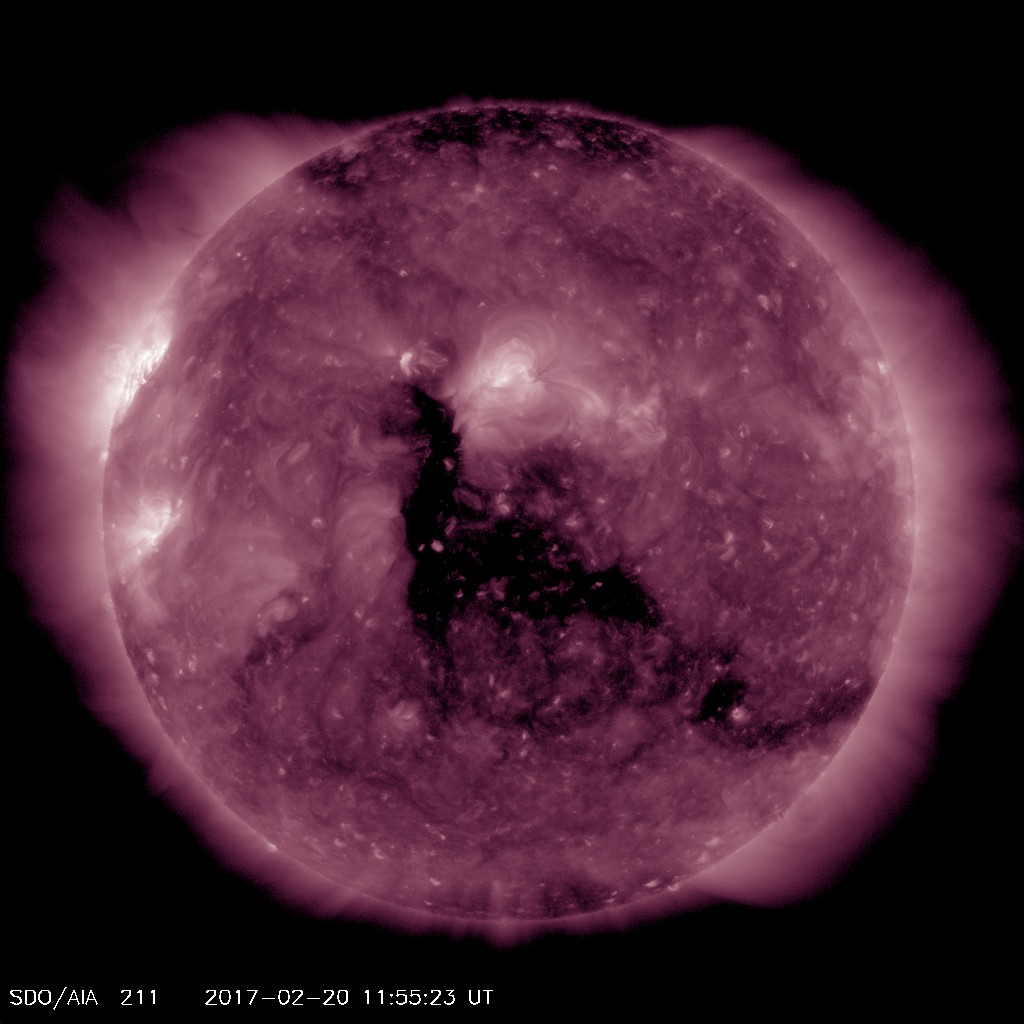Coronal hole, the dark area, shown in AIA 211 image from SDO