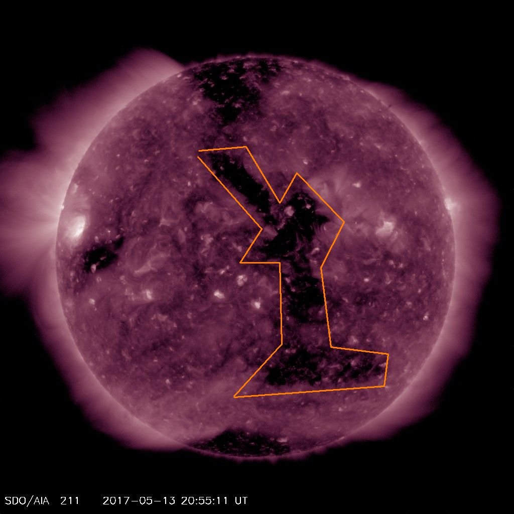 Coronal Hole Faces Earth on May 13, 2017