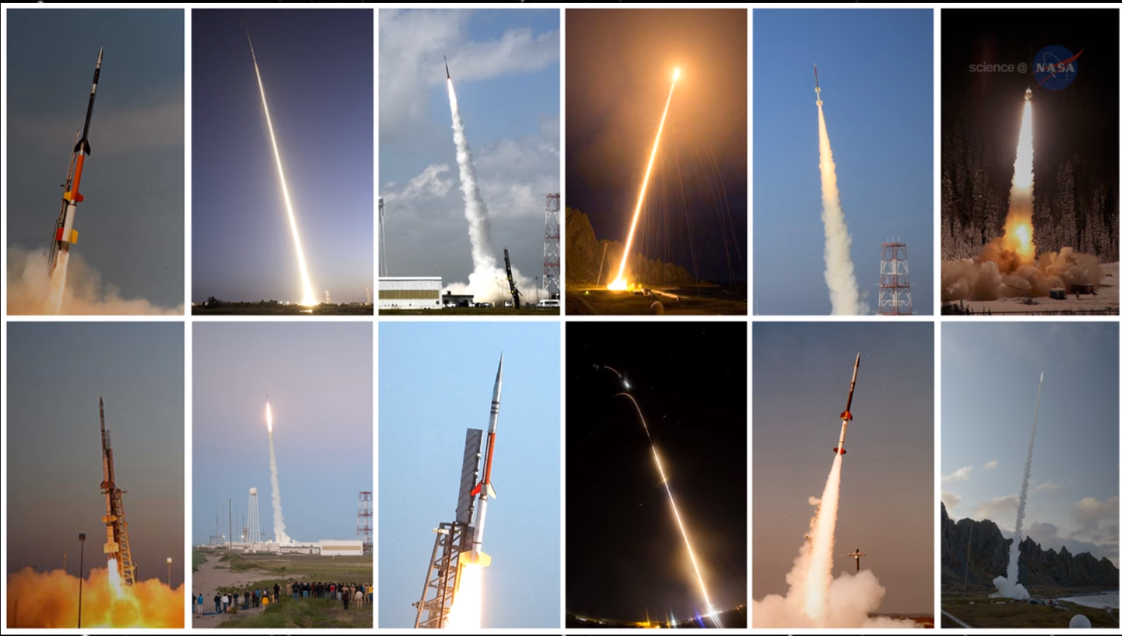 Images of several different sounding rockets