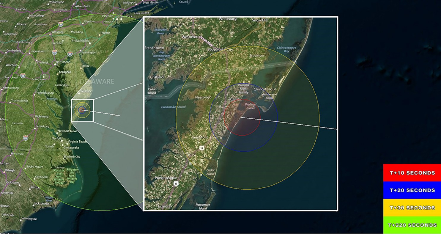 Areas where it may be possible to see the Father's Day sounding rocket launch